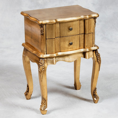 Two Drawer Rectangular Bedside in Antique Gold
